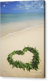 Maile Lei On Beach II Acrylic Print by Brandon Tabiolo - Printscapes