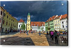 Main Square In The Old Town Of Bratislava, Slovakia Acrylic Print