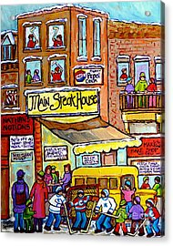 Main Steakhouse Montreal Memoriesjewish Inner City Scene Hockey Art Carole Spandau Winter  Paintings Acrylic Print by Carole Spandau