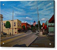 Main Street Clayton Nc Acrylic Print by Doug Strickland