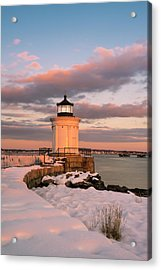 Acrylic Print featuring the photograph Maine Bug Light Lighthouse Snow At Sunset by Ranjay Mitra