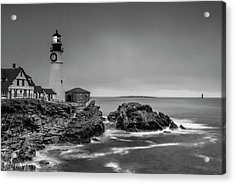 Acrylic Print featuring the photograph Maine Cape Elizabeth Lighthouse Aka Portland Headlight In Bw by Ranjay Mitra