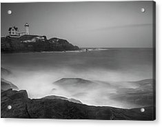 Acrylic Print featuring the photograph Maine Cape Neddick Lighthouse And Rocky Coastal Waves Bw by Ranjay Mitra