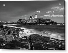 Acrylic Print featuring the photograph Maine Cape Neddick Lighthouse In Bw by Ranjay Mitra