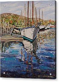 Maine Coast Boat Reflections Acrylic Print by Richard Nowak