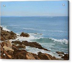 Maine Coast Acrylic Print by Linda Tenukas