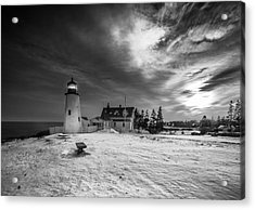 Acrylic Print featuring the photograph Maine Coastal Storm Over Pemaquid Lighthouse by Ranjay Mitra