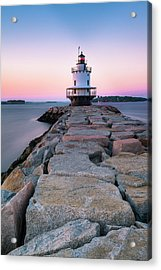Acrylic Print featuring the photograph Maine Coastal Sunset Over The Spring Breakwater Lighthouse by Ranjay Mitra
