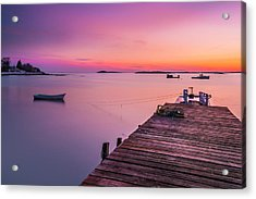 Acrylic Print featuring the photograph Maine Cooks Corner Lobster Shack At Sunset by Ranjay Mitra