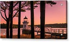 Acrylic Print featuring the photograph Maine Doubling Point Lighthouse At Sunset Panorama by Ranjay Mitra