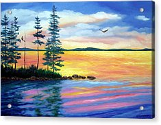 Maine Evening Song Acrylic Print by Laura Tasheiko