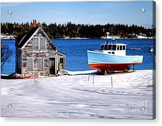 Acrylic Print featuring the photograph Maine Harbor Winter Scene by Olivier Le Queinec