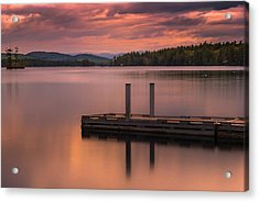 Acrylic Print featuring the photograph Maine Highland Lake Boat Ramp At Sunset by Ranjay Mitra