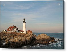 Maine Lighthouse Acrylic Print by Alberta Brown Buller