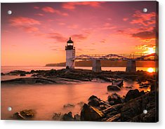 Acrylic Print featuring the photograph Maine Lighthouse Marshall Point At Sunset by Ranjay Mitra