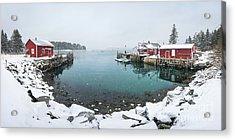 Maine Lobster Shacks In Winter Acrylic Print by Benjamin Williamson