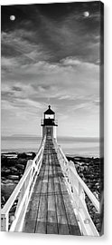 Acrylic Print featuring the photograph Maine Marshall Point Lighthouse Vertical Panorama In Black And White by Ranjay Mitra