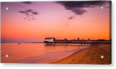 Acrylic Print featuring the photograph Maine Old Orchard Beach Pier At Sunset by Ranjay Mitra