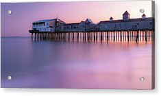 Maine Oob Pier At Sunset Panorama Acrylic Print by Ranjay Mitra