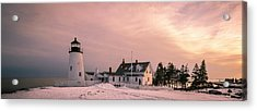 Maine Pemaquid Lighthouse After Winter Snow Storm Acrylic Print by Ranjay Mitra