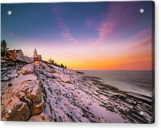 Acrylic Print featuring the photograph Maine Pemaquid Lighthouse In Winter Snow by Ranjay Mitra