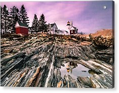 Maine Pemaquid Lighthouse Reflection In Summer Acrylic Print