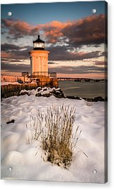 Acrylic Print featuring the photograph Maine Portland Bug Light Lighthouse Sunset  by Ranjay Mitra