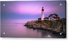 Acrylic Print featuring the photograph Maine Portland Headlight Blue Hour Panorama by Ranjay Mitra