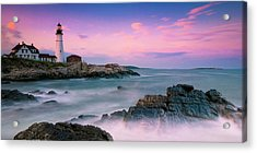Maine Portland Headlight Lighthouse At Sunset Panorama Acrylic Print by Ranjay Mitra
