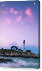Acrylic Print featuring the photograph Maine Portland Headlight Lighthouse In Blue Hour by Ranjay Mitra