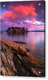Maine Pound Of Tea Island Sunset At Freeport Acrylic Print by Ranjay Mitra