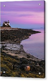 Acrylic Print featuring the photograph Maine Prospect Harbor Lighthouse Sunset In Winter by Ranjay Mitra