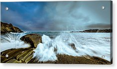 Maine Rocky Coast During Storm At Two Lights Acrylic Print by Ranjay Mitra