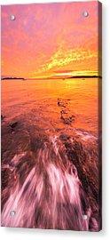 Maine Rocky Coastal Sunset At Kettle Cove Acrylic Print
