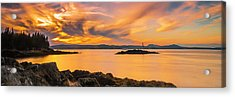 Acrylic Print featuring the photograph Maine Rocky Coastal Sunset In Penobscot Bay Panorama by Ranjay Mitra