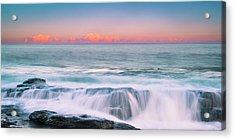 Acrylic Print featuring the photograph Maine Rocky Coastal Sunset Panorama by Ranjay Mitra