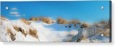 Maine Snow Dunes On Coast In Winter Panorama Acrylic Print by Ranjay Mitra