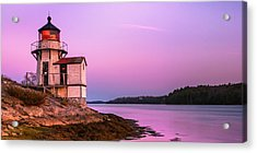 Acrylic Print featuring the photograph Maine Squirrel Point Lighthouse On Kennebec River Sunset Panorama by Ranjay Mitra