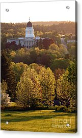 Maine State Capitol At Sunset Acrylic Print by Olivier Le Queinec