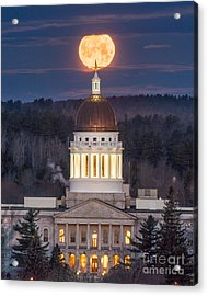 Maine State House Moon Acrylic Print by Benjamin Williamson