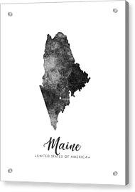 Maine State Map Art - Grunge Silhouette Acrylic Print