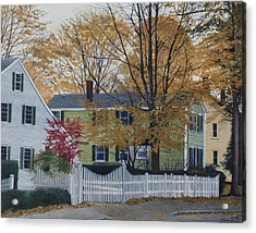 Autumn Day On Maine Street, Kennebunkport Acrylic Print by Barbara Barber