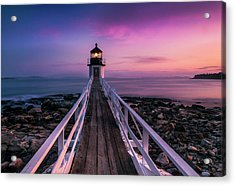 Maine Sunset At Marshall Point Lighthouse Acrylic Print