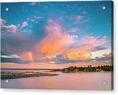 Maine Sunset - Rainbow Over Lands End Coast Acrylic Print