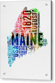 Maine Watercolor Word Cloud  Acrylic Print by Naxart Studio