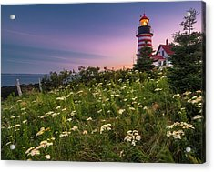 Acrylic Print featuring the photograph Maine West Quoddy Head Lighthouse Sunset by Ranjay Mitra