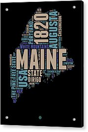Maine Word Cloud 1 Acrylic Print by Naxart Studio