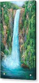 Majestic Falls Acrylic Print by Sally Seago