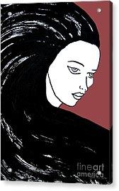 Majestic Lady J0715g Marsala Red Pastel Painting 18-1438 964648 964f4c Acrylic Print