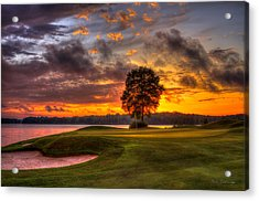 Majestic Sunset Golf The Landing Reynolds Plantation Lake Oconee Georgia Acrylic Print by Reid Callaway